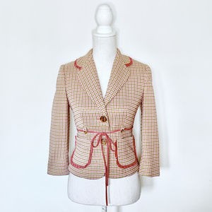 Anthropologie by Phoebe 2 pink hounds tooth jacket